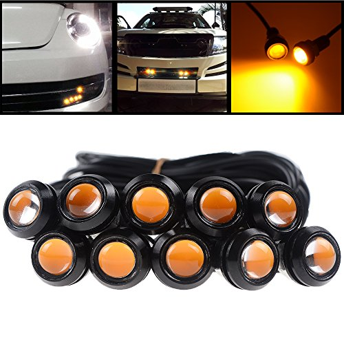Set 10pcs Super Bright Amber LED Eagle Eyes DRL Running Backup Fog Tail Light Lamp