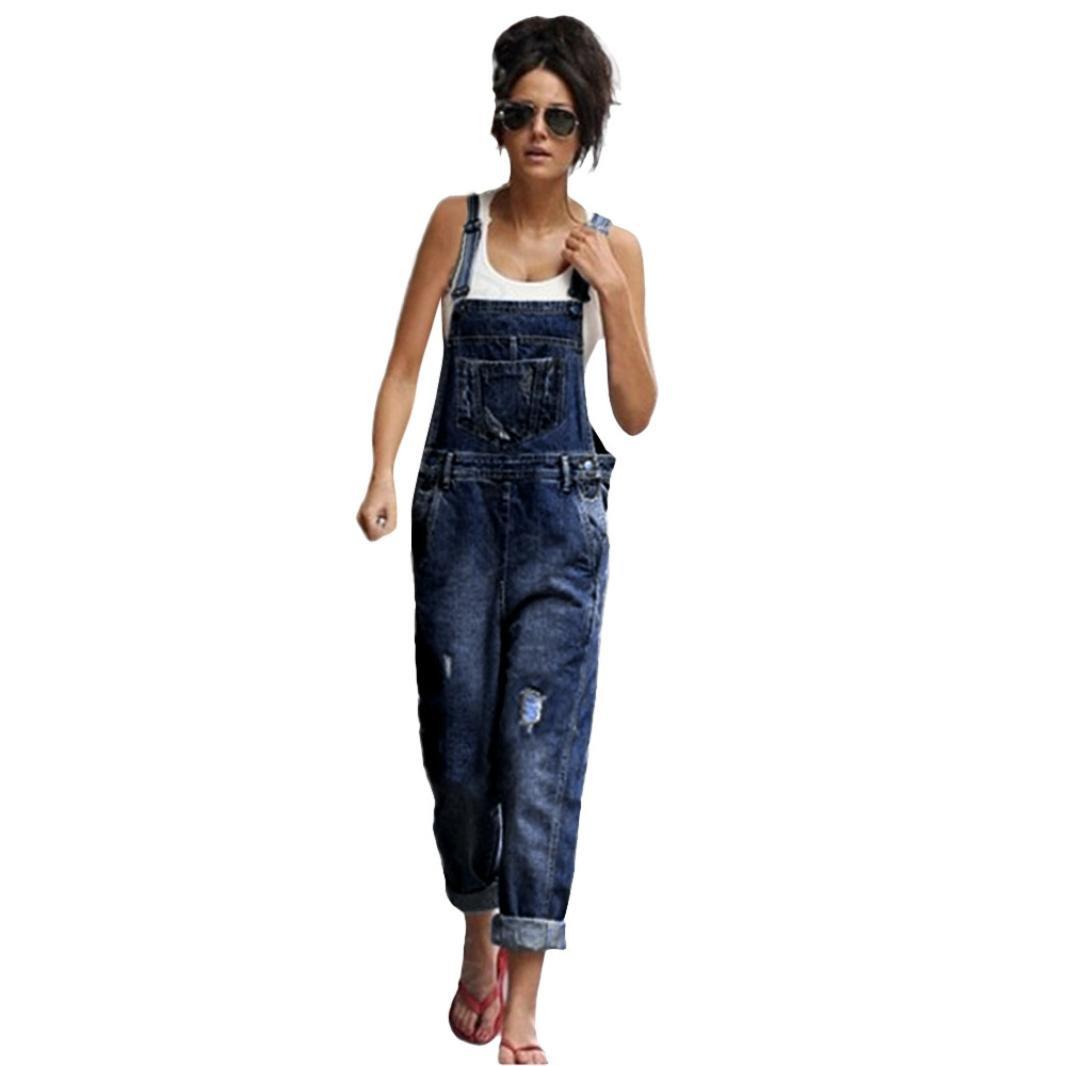 Binmer Jeans Pants Women Fashion Denim Ripped Overalls Straps Jumpsuit Trousers (M, Blue)