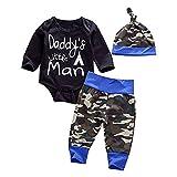 Waliwali Newborn Daddy's Little Man Print Baby Boys Girls Romper +Camo Cotton Long Pants +Hat Outfit
