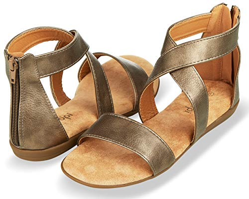 Floopi Sandals for Women | Open Toe, Gladiator/Criss Cross-Design Summer Sandals W/Zip Up Back | Comfy, Faux Leather Ankle Straps W/Flat Sole, Memory Foam Insole | (9, Pewter-515)