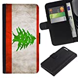 eJoy---Flip Wallet Style Premium PU Protective Leather Case - Apple iPhone 6 PLUS 5.5 - --Lebanese Grunge Flag