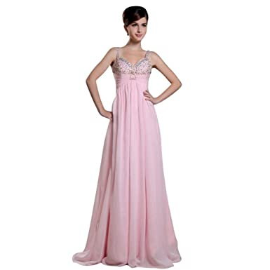 Dearta Womens Empire V-Neck Floor-Length Prom Dresses US 2 Pink