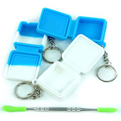 3 Silicone Wax Storage Container with Keychain Non Stick Oil Kitchen Jar Different Color and a Carving Tool by X-Value