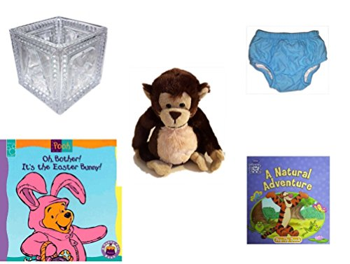 Children's Gift Bundle - Ages 0-2 [5 Piece] Includes: B-A-B-Y Block Container Heavy Glass, Circo Infant Reusable Swim Diaper Blue Size L 18 Months 22-25 lbs, Ganz Adorable Chimpanzee Plush, Oh, Both by Secure-Order-Marketplace Gift Bundles