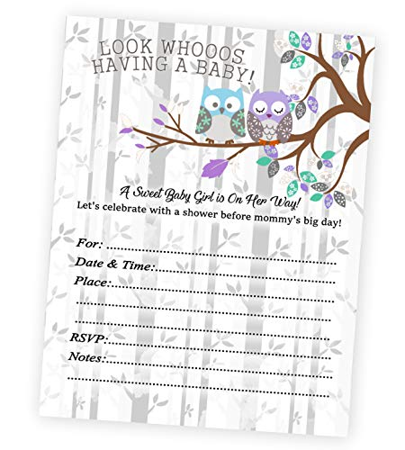 Owl Purple and Gray Baby Shower Invitations Girl
