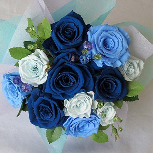 枯れない花 プリザーブドフラワー 花束(誕生日記念日お祝いプロポーズ等に最適) (ブルー) B00QKC1YZM ブルー ブルー