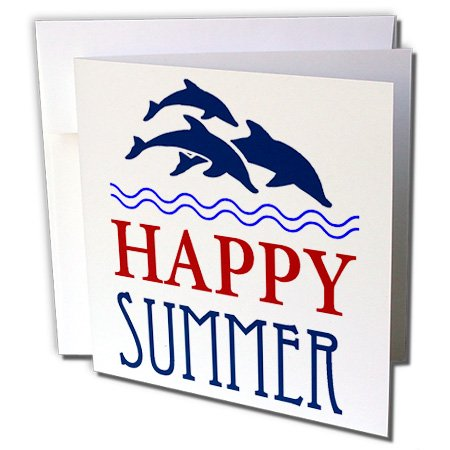 3dRose Blue Swimming Dolphins with Words Happy Summer - Greeting Cards, 6 x 6
