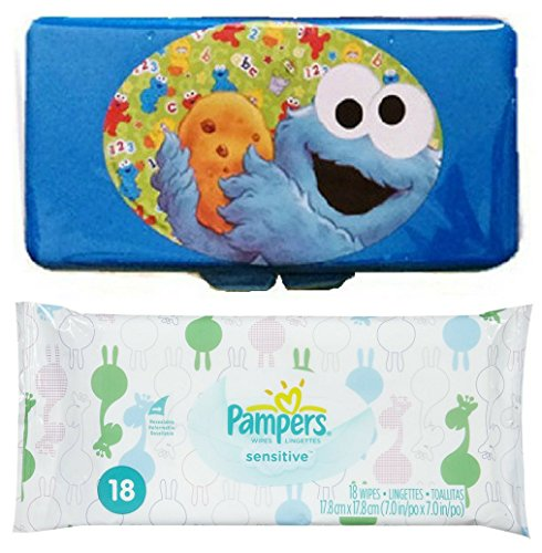 Pampers Sensitive Baby Wipes Pack 18 ct + Bonus Sesame Street Blue Cookie Monster Flip Top Travel Case Bundle