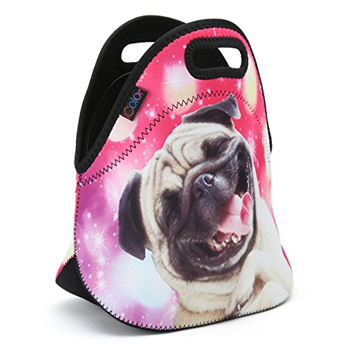keeps Food Cool Pink Cute Pug Insulated Cooler Lunch Box Bag