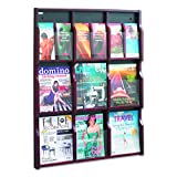 Safco Products 5702MH Expose Literature Display, 9 Magazine 18 Pamphlet, Mahogany/Black
