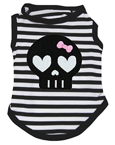 Petitebella Halloween Skull Black White Striped Shirt Puppy Dog Clothes (Medium) -
