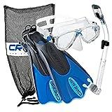Cressi Palau Mask Fin Snorkel Set with Snorkeling Gear Bag, Blue, L/XL | (Men's 10-13) (Women's 11-14) (Renewed)