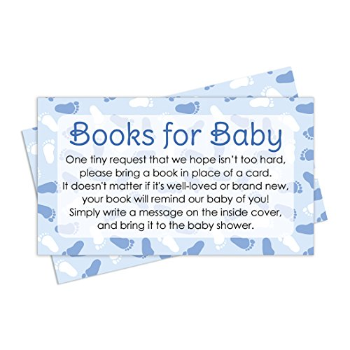 Books for Baby Request Cards - Boy Baby Shower Invitation Inserts (20 Count) (Baby Shower Invitations Books)