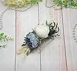 Blue white floral comb Bridal hair comb slide with flowers Grromsmen boutonniere buttonhole