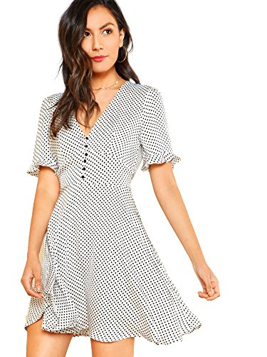 Floerns Women's Polka Dot V-Neck High Waist Casual Flare A Line Dress Black White - Model Lacie