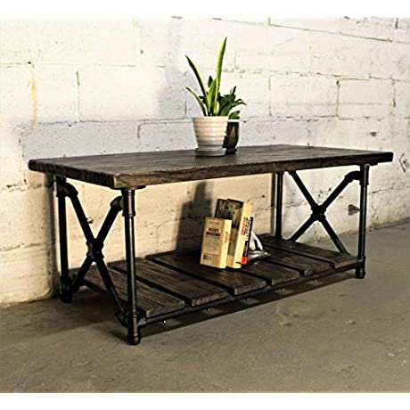 Furniture Pipeline Rustic Rectangle Coffee Table Metal With Reclaimed Aged Wood Finish Black Steel Pipes And Fittings With Dark Brown Stained Wood