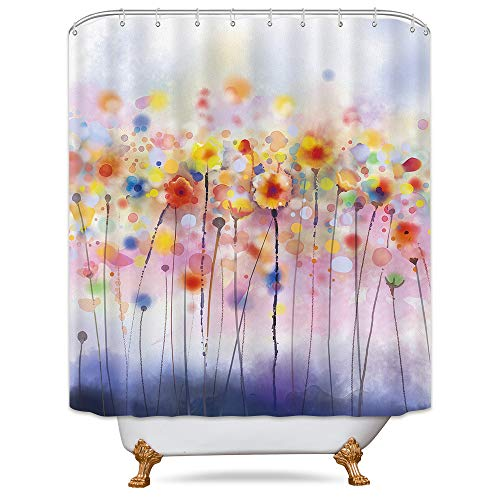 - Riyidecor Watercolor Herbs Shower Curtain Weighted Hem Colorful Blossom Plants Floral Soft Multi Colors Blurred Style Decor Fabric Set Polyester Waterproof Fabric 72x72 Inch Plastic Hooks 12 Pack