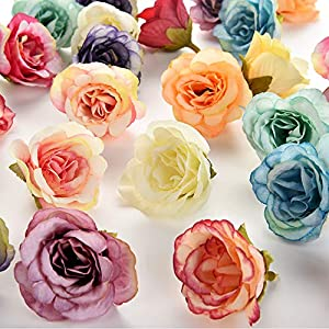 silk flowers in bulk wholesale Rose Artificial Silk Rose Flowers Wall Heads Home Wedding Decoration DIY Wreath Accessories Craft Fake Flower 30Pcs 3.5cm (Multicolor) 52