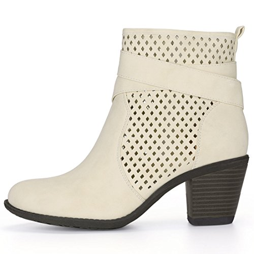 Allegra K Women's Cross Straps Perforated Booties Beige ytH3lOjX