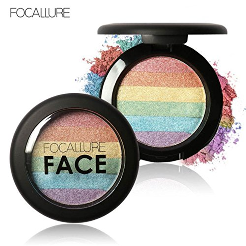 Anboo Multi-function Rainbow Highlight Eyeshadow Palette Baked Blush Face Shimmer Color Make up - Highlighter Multifunction