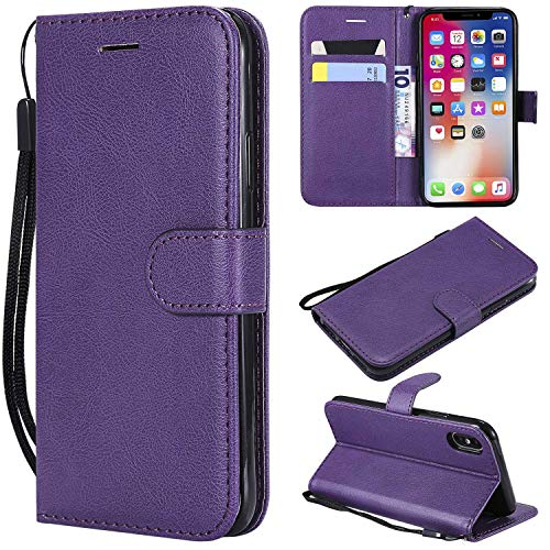 Price comparison product image iPhone X / XS Wallet Case,  CUSKING Premium Leather Cover with Silicone Inner Case for Apple iPhone X / XS [Card Holder] [Magnetic Closure] [Hand Strap] - Purple