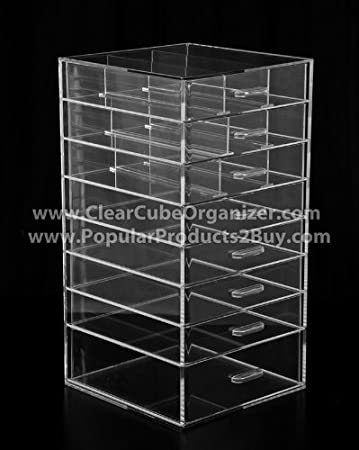 Amazoncom Acrylic Clear Cube Makeup Organizer Drawers Beauty - Acrylic cube makeup organizer with drawers