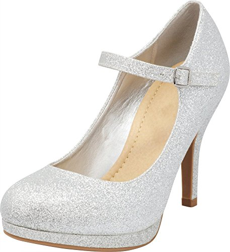 Cambridge Select Women's Mary Jane Dress Pump High Heel,8 B(M) US,Silver Glitter - Glitter Platform Mary Jane