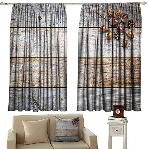 Bedroom Curtains 2 Panel Rustic Acorns and Cones on Weathered and Grained Wooden Background Timber Autumn Theme Image Tie Up Window Drapes Living Room W55 xL45 Brown