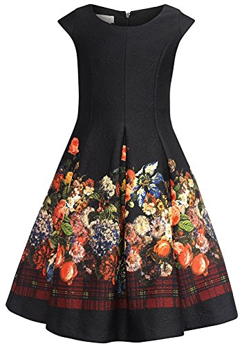 Bonnie Jean Big Girls 7-16 Fit and Flare Embossed Floral Holiday Party Dress, 12 ()