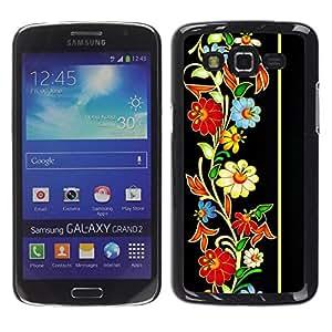 Caucho caso de Shell duro de la cubierta de accesorios de protección BY RAYDREAMMM - Samsung Galaxy Grand 2 SM-G7102 SM-G7105 - Vintage Retro Heritage Floral Pattern
