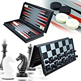 3-in-1 Game Set - Chess Checker and Backgammon