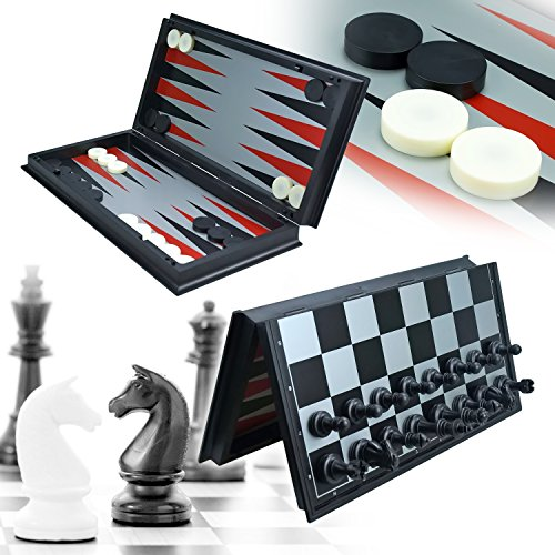 (UWANTME 3-in-1 Game Set - Chess Checker and Backgammon)