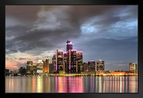Detroit Michigan Cityscape Skyline at Dusk Photo Art Print Framed Poster 14x20 inch