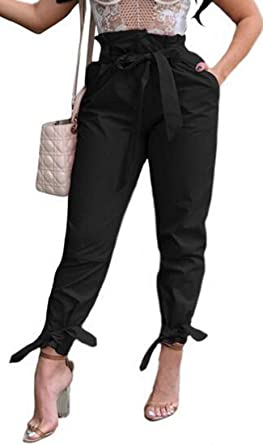 a4697ce76f47 Sweatwater Womens High Waist Belted Casual Solid Stretchy Plus Size Trousers  Pants Black XS