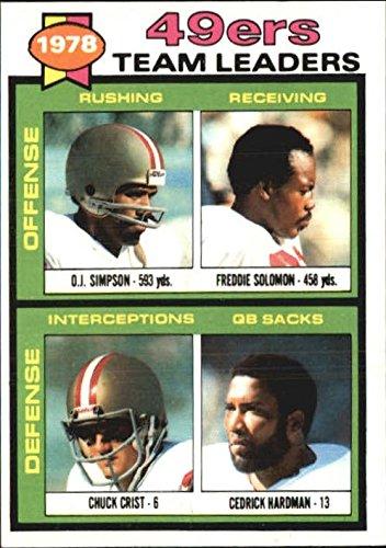 1979 Topps #38 San Francisco 49ers TL O.J. Simpson Freddie Solomon Chuck Crist Cedrick Hardman (checklist back) - NM