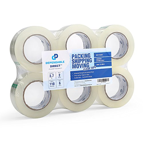 Industrial Grade Clear Packing Tape (6 Rolls) - 110 Yards per Roll - 2 Wide x 2.7 mil Thick, Acrylic Adhesive Heavy Duty Tape for Box Office Moving Packaging Shipping