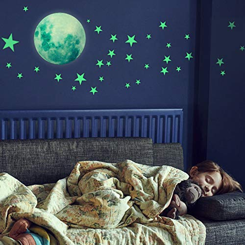 HORIECHALY Glow in The Dark Stars Wall Stickers, 221 Adhesive Bright and Realistic Stars and Full Moon for Starry Sky, Shining Decoration for Girls and Boys, Beautiful Wall Decals]()