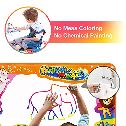 "Betheaces Water Drawing Mat Aqua Magic Doodle Kids Toys Mess Free Coloring Painting Educational Writing Mats Xmas Gift for Toddlers Boys Girls Age of 2,3,4,5,6 Year Old 34.5"" X 22.5"" in 6 Colors"