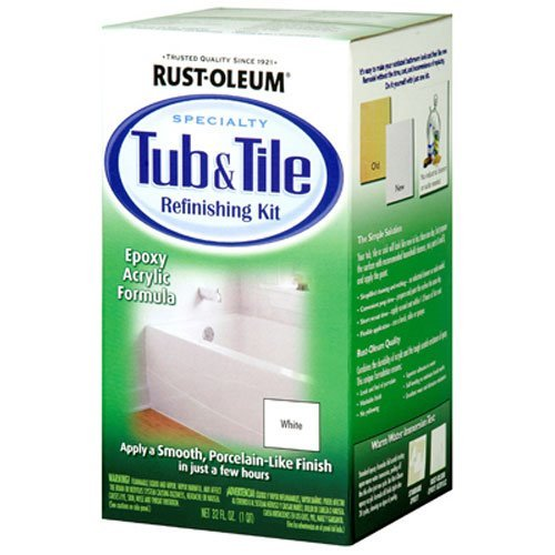 White Porcelain Floor Tiles (Rust-Oleum 7860519 Tub And Tile Refinishing 2-Part Kit, White)