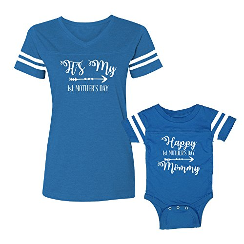 We Match!! - It's My First Mother's Day - Matching Women's Football T-Shirt & Baby Bodysuit Set (12M Bodysuit, Women's Football T-Shirt Medium, Cobalt/White, White Print)