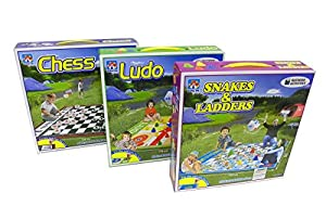 Set of 3 Jumbo Floor Board Games (Chess, Snakes & Ladders, and Ludo)