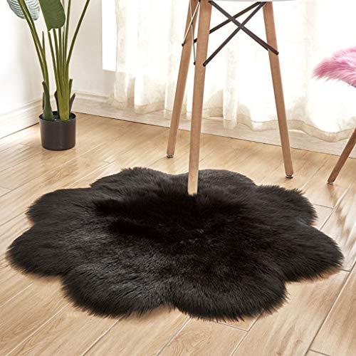 Shaggy Rug Modern Luxury Super Soft Indoor Faux Fur Throw Rug Anti-Skid Fluffy Rug Home Decorative Cozy Floor Mat 90x90CM (Black) -