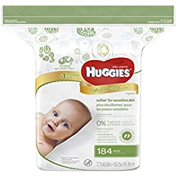 HUGGIES Natural Care Baby Wipes, Refill Pack (184 Sheets Total), Fragrance-free, Alcohol-free, Hypoallergenic