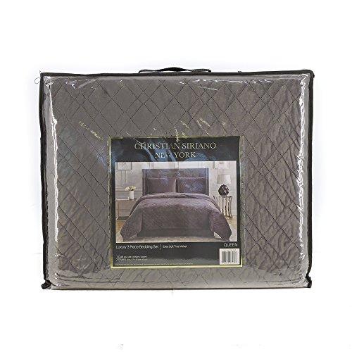 (Christian Siriano New York Luxury 3 Piece Velvet Quilt Bedding Set (King, Charcoal))