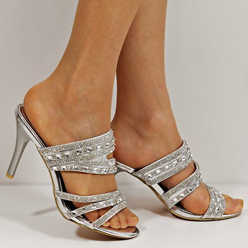 Rock on Styles Ladies Diamante Mid High Heel Evening Bridal Slip On Shoes Sandals Mules-GH199 Silver V8lOlAmIh