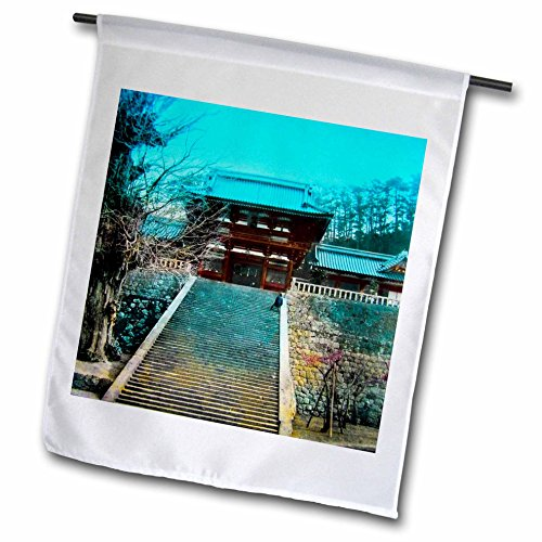 Scenes from the Past Magic Lantern - Vintage Japanese Kamakusa Temple Steps Tokyo Japan Circa 1910 - 12 x 18 inch Garden Flag (Temple Tokyo Japan)