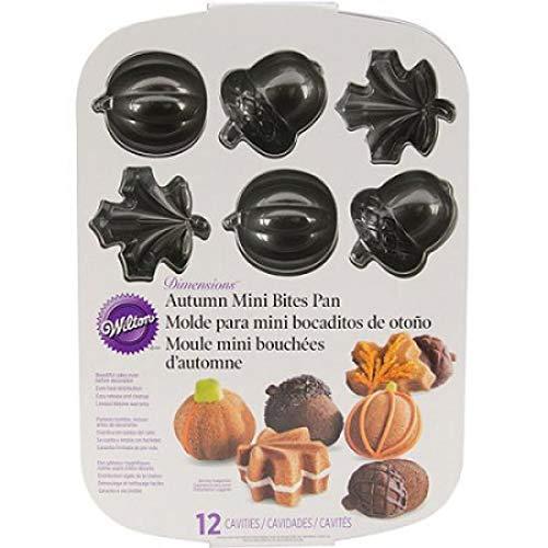 Wilton Fall Autumn Cast Aluminum Mini Cakes Muffin Pan, Leaves Acorns Pumpkins -