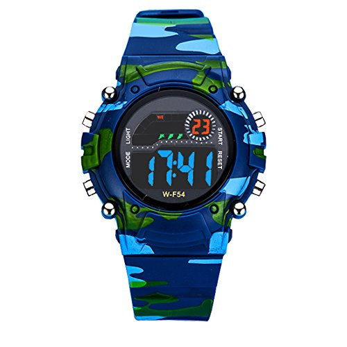 AZLAND Digital Water Resistant Kids Watches Small-size with Gift box,Camouflage Color ()