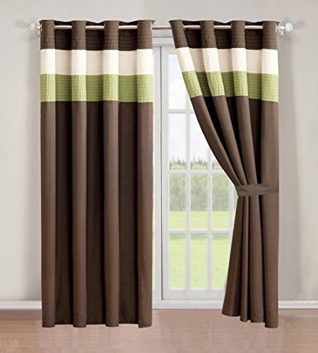 Modern Brown Sage Beige Faux Silk Taffeta Window