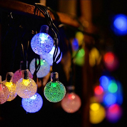 Solar String Lights 20 ft 30 Led Globe Crystal Multicolor Waterproof Multi-mode Bright Bubble Ambiance Lights Decorative for Outdoor Garden Patio Bistro Christmas Party Wedding Holiday (Multicolor) by Useber (Image #3)